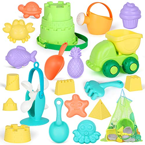 AMOSTING Beach Sand Toys for Toddlers with Mesh Bag-21pcs Reusable Sandbox...