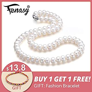 Fine Aaaa Natural Freshwater Pearl Necklace for Women 3 Colors 8 9mm Pearl Jewelry 45cm Choker Necklace - White 9-10mm about 45cm