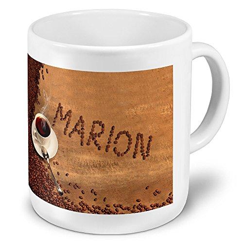"""XXL Riesen-Tasse mit Namen """"Marion"""" - Jumbotasse mit Design Kaffeebohnen - Namens-Tasse, Kaffeebecher, Becher, Mug"""