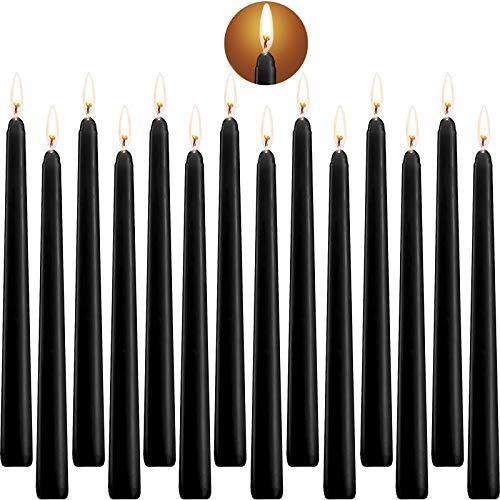 Tonsooze Candele Coniche, Candele rituali Alto Cono Candele Unscented con Cotone Wicks 10 Pollici Nere, 14 unità