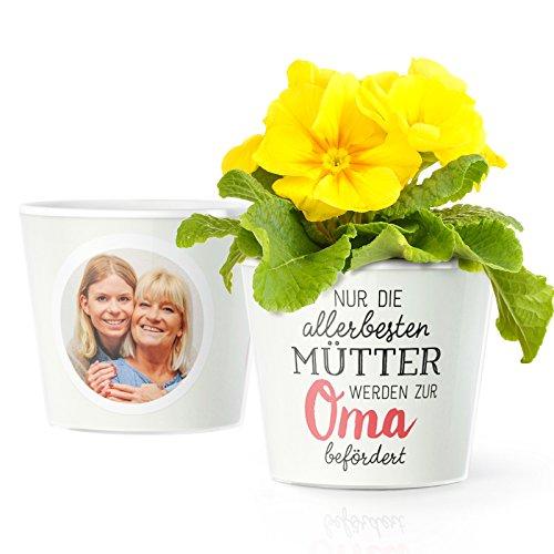 Facepot Baby Oma Geschenke - Blumentopf (ø16cm) für werdende Oma mit Bilderrahmen für Zwei Fotos (10x15cm) | Nur die Allerbesten Mütter Werden zur Oma befördert