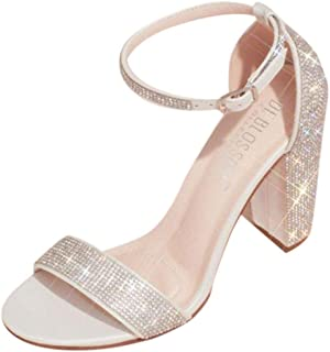 David's Bridal Crystal Block Heel Sandals with Shimmering Accents Style Britt