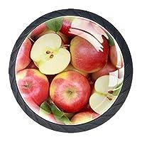 引き出しハンドルは、ホームキッチンドレッサーワードローブグループの赤いフルーツと葉で丸いクリスタルガラスを引っ張る