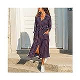 Homeilteds Vestido de Camisa de Dama a Rayas de Manga Larga Girar hacia Abajo Cuello Vestidos Casuales Bolsillos Vendaje Elegante Midi Vestido túnica Cómoda (Color : Stripe, Size : XL.)