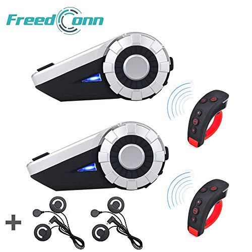 Bluetooth-Gegensprechanlage für Motorradhelme, FreedConn T-REX-Gegensprechanlage für 8 Personen/Range 1500m / MP3-Player/GPS/UKW-Radio/Freisprecheinrichtung (Weiches Kabel, 2 Pack)