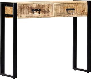 Festnight Mueble Recibidor Consola Consola Recibidor Escritorio con Ccajones Mesa Consola de Madera Maciza de Mango 90x30x75 cm
