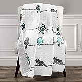 Lush Decor Rowley Birds Throw Blanket, Blue & Gray, 60' L x 50' W