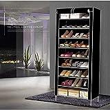 Zapatero de 10 capas, 9 rejillas, color negro, 30 pares, portátil, dos filas con cubierta de tela no tejida, armario zapatero para armario (negro)