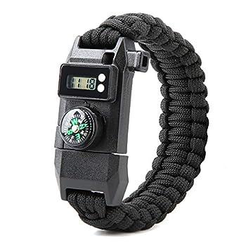 Le bracelet imperméable extérieur multifonctionnel de survie, urgence de Sos avec le sifflet de boussole a mené le bracelet léger montre boussole outil de survie multi-fonction