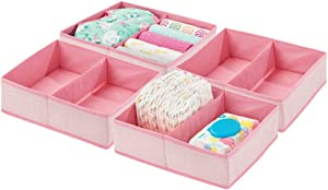 mDesign Soft Fabric Dresser Drawer and Closet Storage Organizer Bin for Child Kids Room  Nursery  Playroom Divided Section Tray Herringbone Print  Pack Pink