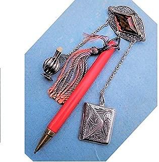 DOLL SIZE CHATELAINE Silver Filigree Topaz Brooch, Sterling Envelope Stamp Case, Silver Tone Vinaigrette, Celluloid Mechanical Pencil.