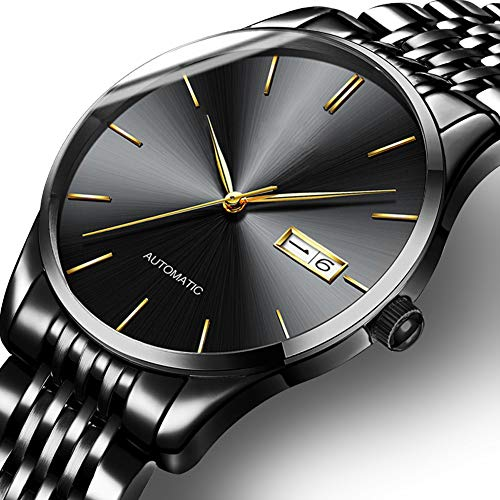 Automatische Mechanische Horloges Voor Mannen, Mode Waterproof Horloges Man Horloge Klok, Leer/Stalen Band, Wekelijks Vertoning