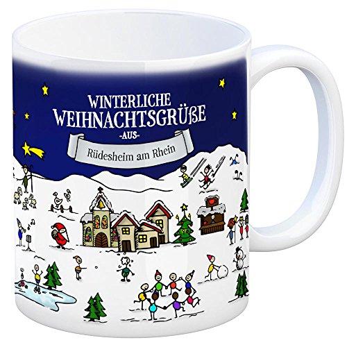 trendaffe - Rüdesheim am Rhein Weihnachten Kaffeebecher mit winterlichen Weihnachtsgrüßen - Tasse, Weihnachtsmarkt, Weihnachten, Rentier, Geschenkidee, Geschenk
