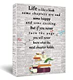 Life is a like a book Canvas Wall Art, Inspirational Gifts Canvas Wall Art Quotes for Kids Girl Sister lovers mom Women, Living Room Bedroom Office Teen Boy Girl Room Décor 11.5'x15'