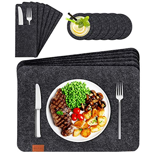 BALFER Tischset abwaschbar aus Filz 18er Set in Anthrazit - 6 Tischuntersetzer Platzset (44x32 cm) + 6 Glas Untersetzer + 6 Bestecksäcken - Hergestellt aus Filz - Platzdeckchen abwischbar