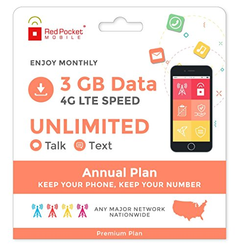 21.25/Mo Red Pocket Prepaid Wireless Phone Plan+SIM; Unlmtd Talk & Text 3GB