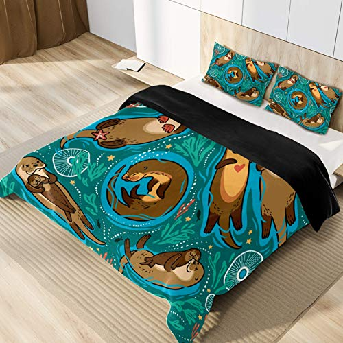 CHINFY Lightweight Soft Microfiber Otter Duvet Cover Set, Single Size, Bedding Set Home Decor for Teens,Boys and Girls