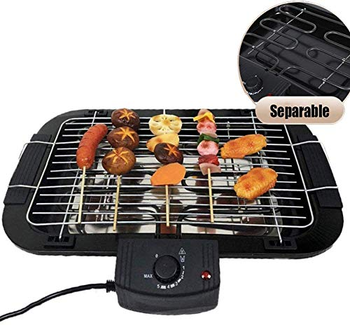 Smokeless Indoor Electric met verwisselbare grillplaat, Portable Korean Barbecue Electric-Bakplaten Nonstick instelbare temperatuur Control met Grease lekbak 3-6 People, Black ZHW345