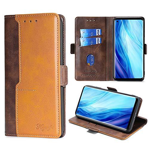 FiiMoo Handyhülle Kompatibel mit Oppo Reno 4 Pro 5G, [Weicher TPU] [Kartenfach] [Magnetverschluss] [Aufstellfunktion] PU Leder Tasche Flip Wallet Hülle Schutzhülle Hülle für Reno4 Pro 5G -Braun