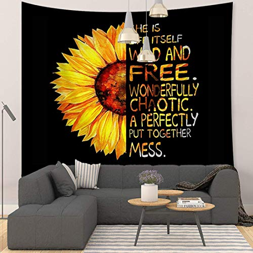 Sunflower Tapestry Black and Yellow Flower Tapestry Quotes Wall Tapestry for Living Room Bedroom59''x51