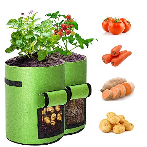 BAGOKIE Potato Grow Bags 10 Gallon with Flap 2 Pack, Thick Breathable Non-Woven Fabric...