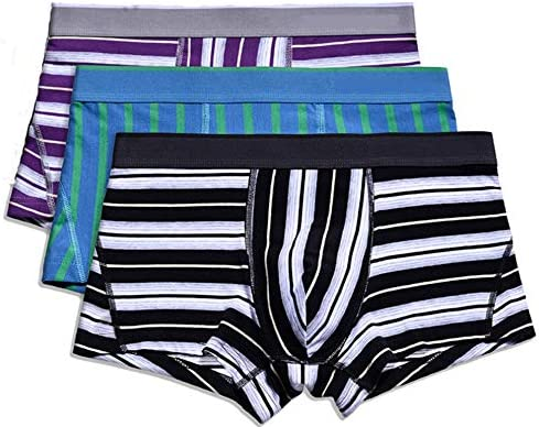 JIUMENG 3Pcs Mens Stripe Underwear Boxer Briefs Cotton Men's Boxer Briefs Comfortable Underwear Men Pack Open Fly Pouch