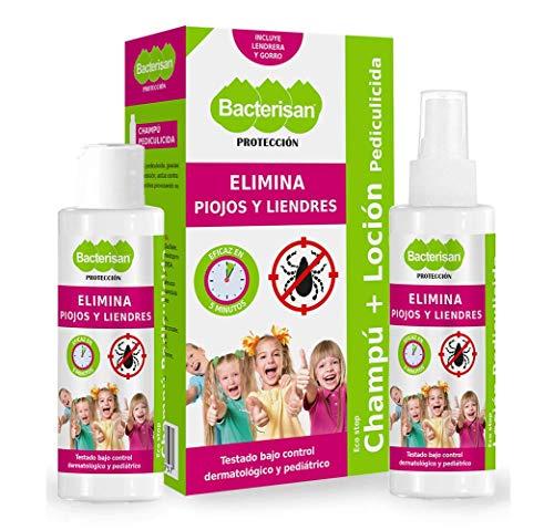 BACTERISAN Bacterisan Pack Pediculicida - Elimina piojos y liendres 100ml | Champú y Loción anti piojos | Lendrera + gorro de regalo 100 ml