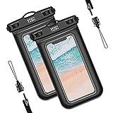2枚セット YOSH スマホ防水ケース IPX8認定 iPhone 11 Pro Max X XR XS 8 7 Androidに対応 水中 撮影 タッチ可 風呂 海 プール 釣り 雨 潜水 水泳 雪 温泉など適用 防水カバー 防水ケース スマホ用 黒