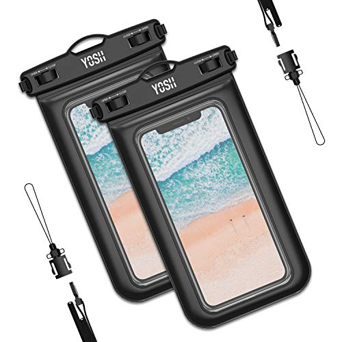 YOSH wasserdichte Handyhülle 6,5 Zoll Unterwasser Wasserfeste Handy Wasserschutzhülle Handytasche wasserdicht Schwimmen fürs iPhone 11 Pro Max XS Max X 8 Samsung A50 A40 A20 Huawei Xiaomi (2 Stücke)