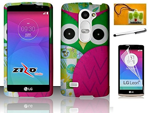 LG Leon C40 / H320 (T-Mobil, Metro PCS), LG Power L22c (Tracfone / Net10) / LG Risio (Cricket) / LG Tribute 2 LS665 (BoostMobil), LF 4 in 1 Bundle, Owl Designer Rubberized Cover Case, Stylus Pen, Screen Protector & Screen Wiper Accessory (Design Owl)