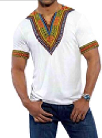 Camiseta Manga Corta Estampada Tribal Africana Tradicional del Modelo para Los Hombres