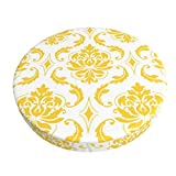 Funda de taburete redonda lavable y transpirable, diseño de damasco, color amarillo y blanco, estilo vintage, con diseño de hamaca, redondo, 35 cm