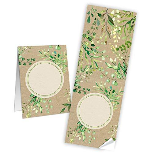 Logbuch-Verlag 25 Geschenkaufkleber natur braun grün Blätter 7,2 x 21 cm beschriftbare Sticker Etiketten f. Geschenke Geschenkverpackung Hochzeit Geburtstag