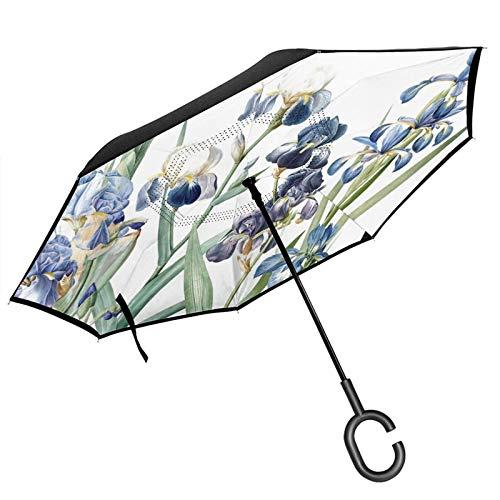 Paraguas invertido de doble capa con mango en forma de C, vintage botánico, flor de iris, jardín floral, anti UV, impermeable, resistente al viento, paraguas recto para uso en el coche y al aire libre