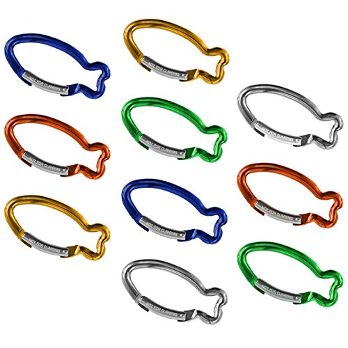 BB Sport 10er Set Materialkarabiner Karabiner Fisch Schlüsselanhänger Karabinerhaken Zubehörkarabiner, Farbe:bunt