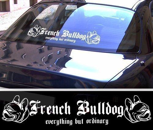 DBSPNCR French Bulldog XXL Aufkleber - Französische Bulldogge - schwarz oder weiß NEU (weiß außenklebend)