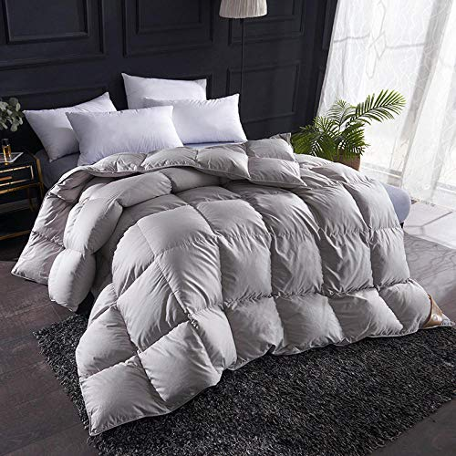 CHOU DAN Duvet Double Bed 15 Tog,Thickened Warm Duvet 95 White Goose Down 4 Catties Duvet-Gray_220*240cm 8 Kg