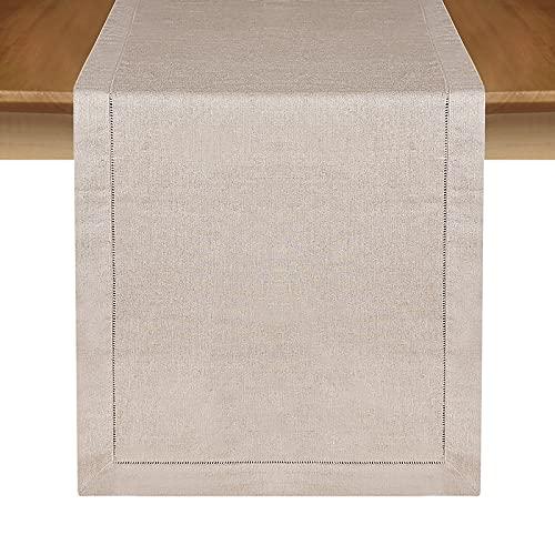 MingHing Camino de Mesa Rústico Elegante en 100% Lino, 40 cm x 182cm (Natural)
