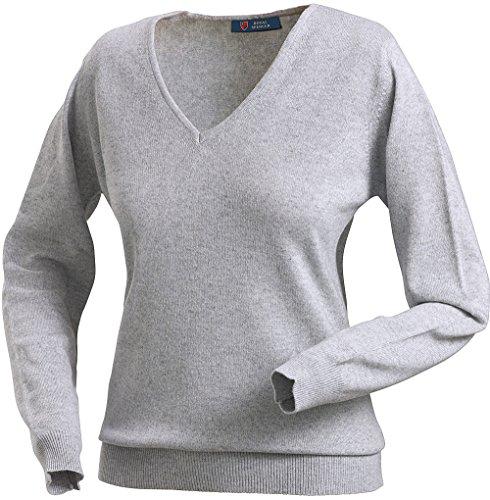 Royal Spencer Damen-Pullover mit V-Ausschnitt aus Kaschmir-Seide, Kaschmirpullover Grau, toller Winterpullover, angenehm zu tragen (Gr: S - XL)