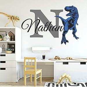 Boys Nursery Blue T Rex, Tyrannosaurus Dinosaurs Personalized Custom Name and Initial Vinyl Wall Decal, Wall Decor Wall Stickers (Medium)