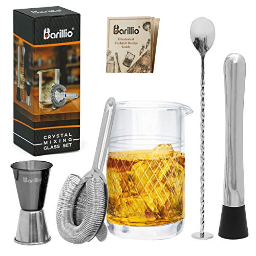 20 Oz Crystal Cocktail Mixing Glass by Barillio | Seamless Mixing Pitcher for Stirred Cocktail with Thick Weighted Bottom | Bartender Kit Includes Muddler, Jigger, Hawthorne Strainer & Mixing Spoon