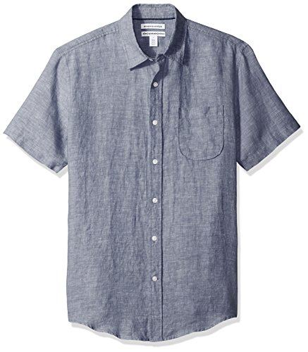 Amazon Essentials - Camicia in lino a maniche corte, da uomo, Slim Fit, Dainty, US S (EU S)