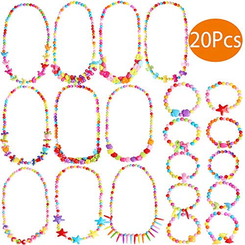 Outee 20 Pcs Toddler Costume Jewelry Princess Necklace Bracelet Girls Play Jewelry Set for Dress Up Pretend Play Jewelry Kit Party Favors