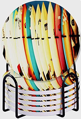 CIKYOWAY Posavasos para Bebidas,Juegos de Cama con Estampado de Tablas de Surf Retro Juego de 6 Posavasos absorbentes con Soporte de Metal/Fondo de Corcho,para Casa Restaurante Y Bar