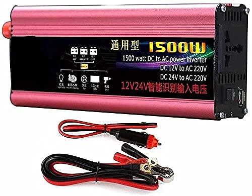 LLSS Inversor convertidor de Voltaje de Onda sinusoidal Pura de 1500 W 12 V / 24 V a 230 V convertidor inversor de Potencia sinusoidal Pura con conexión de Carga USB