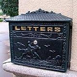 XYFJD Montado en la pared moldeada correo de letra de la vendimia buzón Caballero Letter Box Post Box buzón buzón antiguo óxido de hierro de color for el Courtyard Villa Casa Decor-Bronce / 33.5x7.8x2