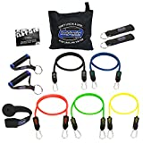 bodylastics Stackable (12 Pcs) MAX Tension Resistance Bands Sets. This Leading Exercise Band System Includes 5 of Our Anti-Snap Exercise Tubes, Heavy Duty Components, and a Travel Bag.