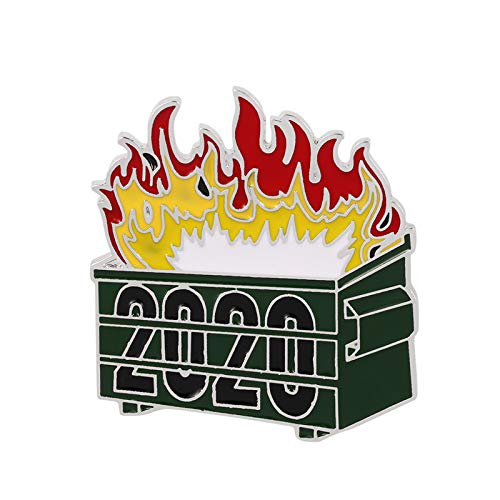 Snlaevx 2020 Dumpster Fire Trash Can Flame Brooch Metal Badge Accessories (Green)