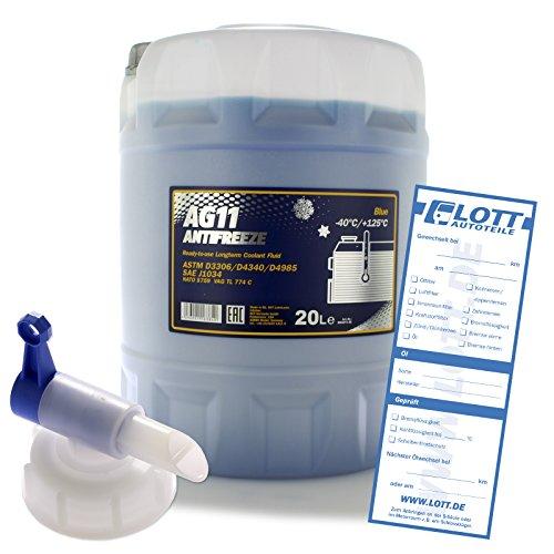 MANNOL 20L Frostschutz Longterm Antifreeze AG11 bis -40° Kühlerfrostschutz Kühlmittel blau Fertiggemisch + Auslaufhahn