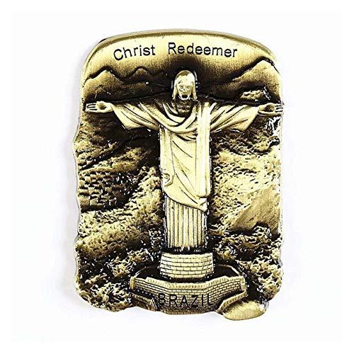 yywl Imán de refrigerador World Tour Souvenir Metal refrigerador Pasta 3D magnético Francia Gran Bretaña Alemania Italia India Tour Souvenir frigorífico imán Regalo (Color : Christ Redeemer)